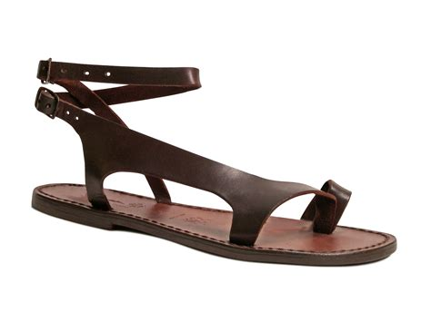 Handmade Italian Sandals - handmade brown genuine leather womens flat sandals made in
