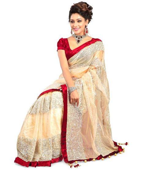 Orderan A N Sari beige embroidered net saree buy beige embroidered net saree at low price snapdeal
