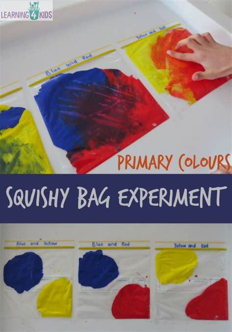 primary colours squishy bag experiment learning 4