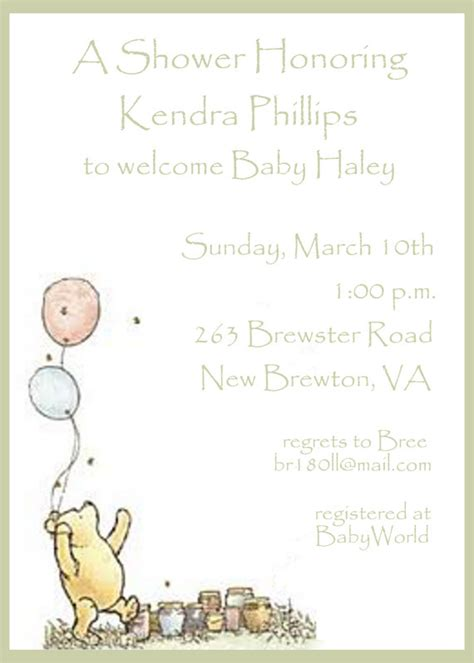 Classic Winnie The Pooh Baby Shower Invites by Winnie The Pooh Baby Shower Invitation By Celebrationspaperie