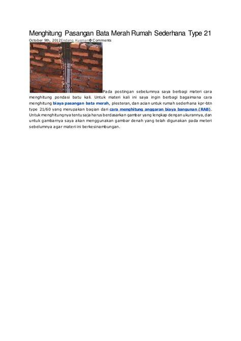 Cara Hitung Pisau Pond menghitung pondasi batu kali rumah sederhana type 21