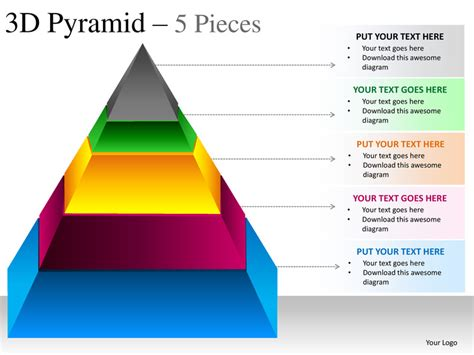 3d pyramid template 3d pyramid 5 pieces powerpoint presesntation templates