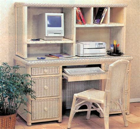 Wicker Computer Desk Wicker Computer Desk Hutch Chair For The Home
