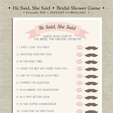 he said she said bridal shower template he said she said printable bridal shower by