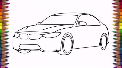 how to draw a car how to draw a car bmw m3 sedan step by step