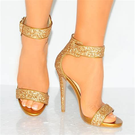 gold sparkly high heels lad