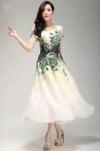 printed chiffon dress tea length dress easter party