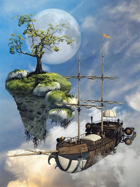 nave volante nave volante e isola foto stock
