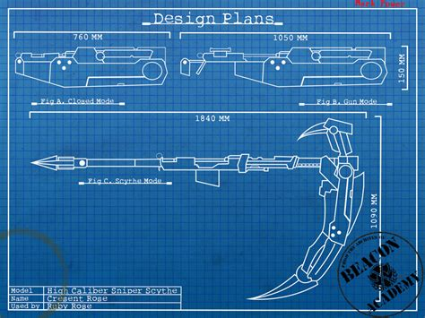 online blueprints rwby crescent rose blueprints by crypticspider on deviantart