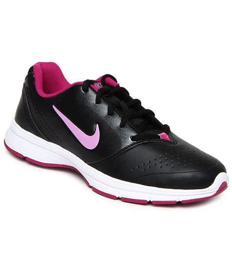 nike black synthetic leather walking sports shoes