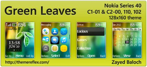 nokia 110 time themes green leaves clock theme for nokia 110 112 c1 01 2690
