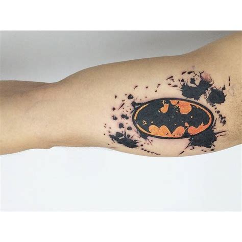 batman elbow tattoo watercolor batman logo tattoo on the right inner arm