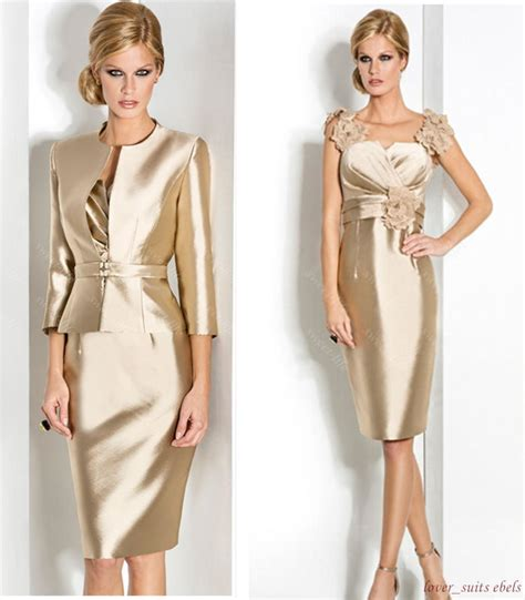 2 piece mother of the bride dresses knee length cstm 2 piece gold mother of the bride groom dress suits
