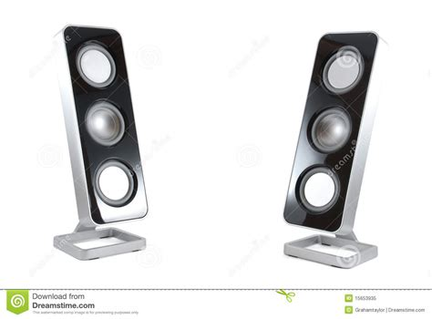 modern speakers two modern speakers on isolated background stock image