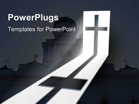 powerpoint template big catholic church with a cross and
