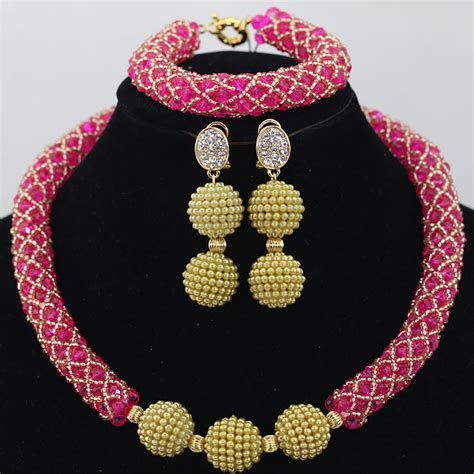Mixed Crystal African Beads Jewellery Party Wedding Set with Centre Beads Ball Brooch