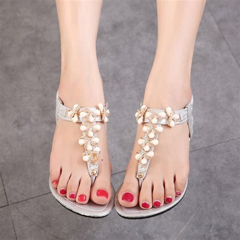 silver pearl sandals buy 2015 fashion s summer shoes