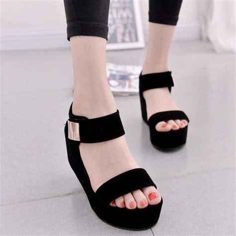 Qwee Black Sepatu Sandal Wedges Casual Fashion Shoes 2017 new wedges sandals s platform sandals
