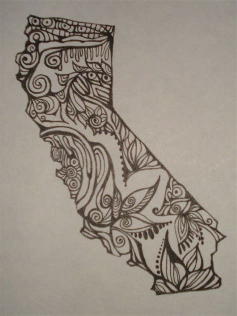 state tattoo designs california outline w design interior original drawing