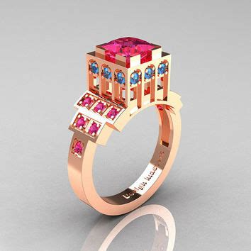Ac 2500 Rosegold Blue 1 modern industrial 14k gold 1 23 ct from artmasters on etsy