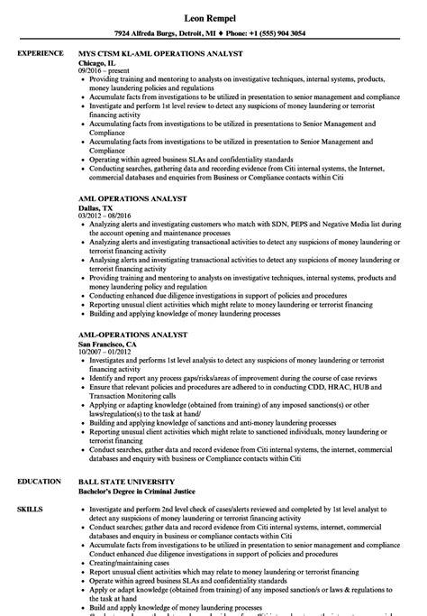 aml analyst resume resume ideas