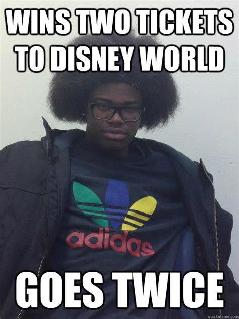 Meme With Two Pictures - wins two tickets to disney world goes twice mosquera1