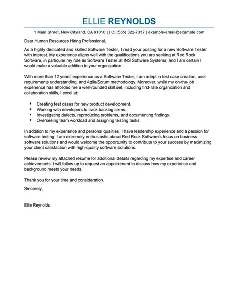 Cover Letter For Software Tester by Software Testing Cover Letter Exles It Cover Letter Sles Livecareer