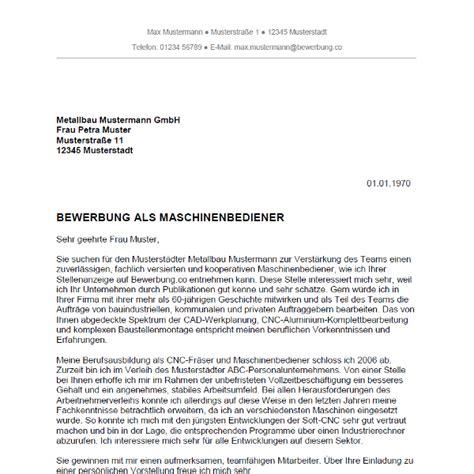 Bewerbungbchreiben Muster Zimmermann Bewerbung Als Maschinenbediener Maschinenbedienerin