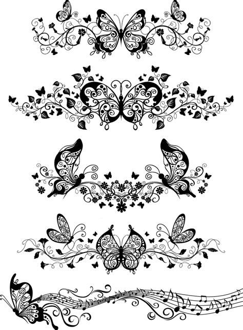 illustrator pattern nasil yapilir free vector がらくた素材庫 蝶と音符の飾り罫 flower beautiful butterfly