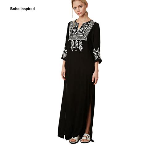 Maxi Bohemian Dress Alia Black aliexpress buy maxi dress black dress boho dress embroidered split cotton