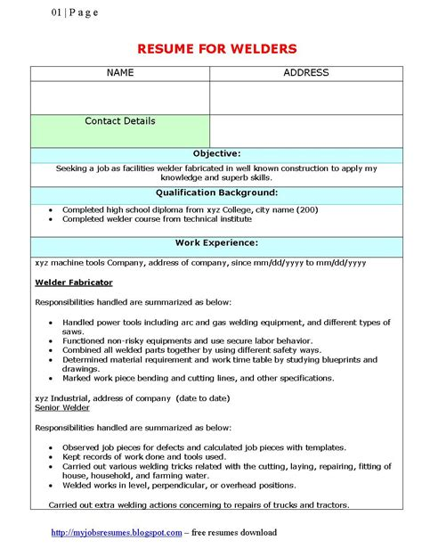 Welding Resume Exles by Fresh And Free Resume Samples For Resume Template For Welders
