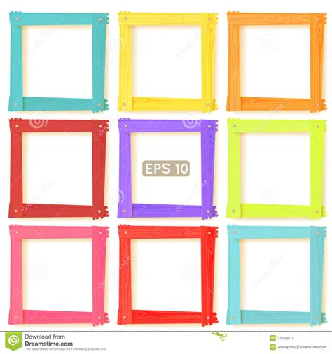 color frame 9 wooden picture frames color set royalty free stock photo