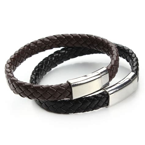 Handmade Mens Leather Bracelets - aliexpress buy 2016 new handmade black brown