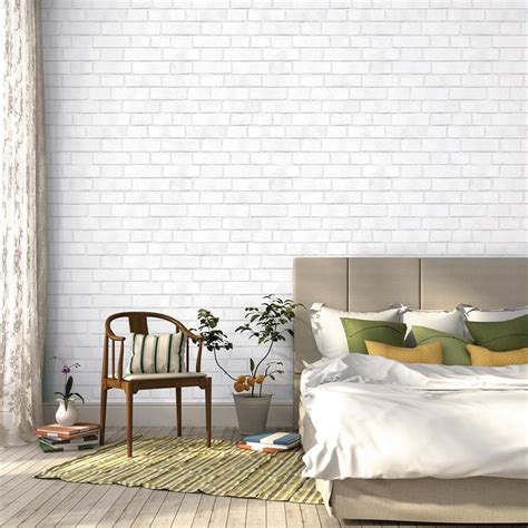 removable wallpaper clean brick textured industrial loft white removable wallpaper