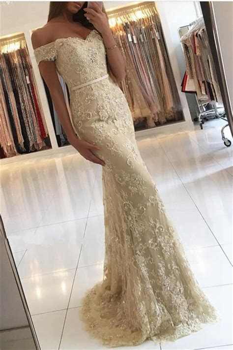Lace Mermaid Evening Gown mermaid the shoulder lace prom dresses evening