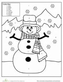 snowman color number worksheet education