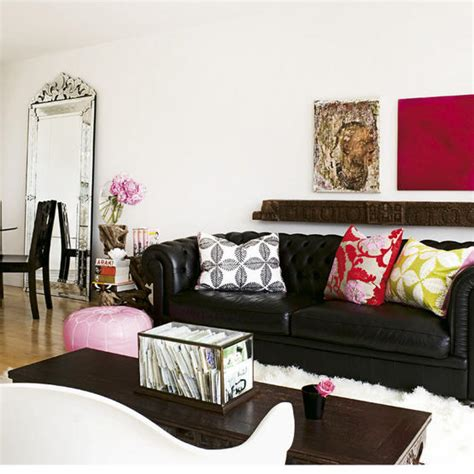 Living Room Decorating Ideas With Black Leather Furniture Black Chesterfield Sofa Contemporary Living Room House To Home