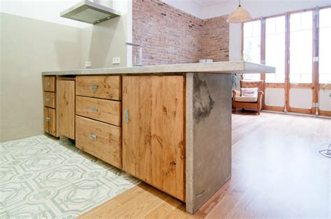Concrete And Wood Kitchen by Szoma Studio Furniture Architecture Models