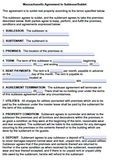 subletting contract template free massachusetts sublease agreement form pdf template