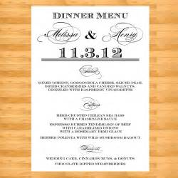 wedding menus wedding menu cards menu by digitalbunnysdesigns
