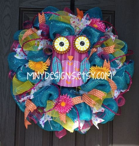 mesh wreath ideas bright colored owl summer deco mesh wreath indoor outdoor