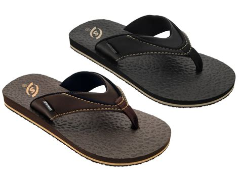 Faux Leather Flip Flops mens boys sandals faux leather flip flops toe posts