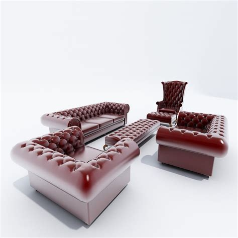 Chesterfield Sofa Set Chesterfield Sofa Set 3d Obj