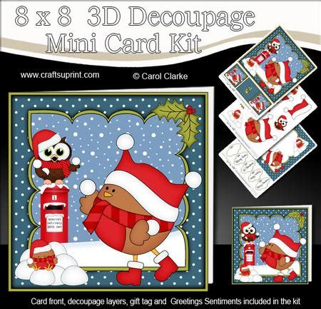 3d Decoupage Picture Kits - 8x8 bobbin robin snowball fight mini kit 3d decoupage