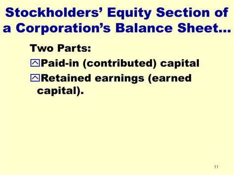 in the stockholders equity section of the balance sheet ppt chapter 11 powerpoint presentation id 231740