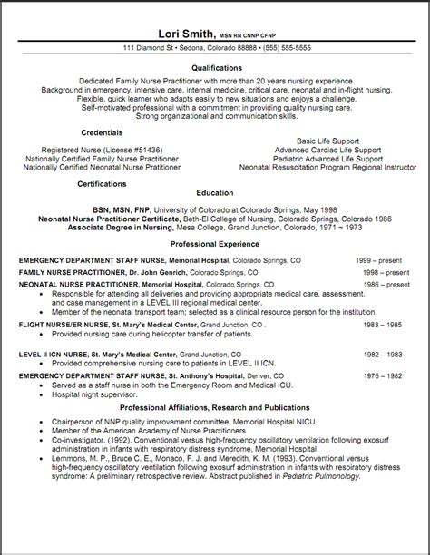 Nurse Resume Format Sample by Nurse Practitioner Resume Examples