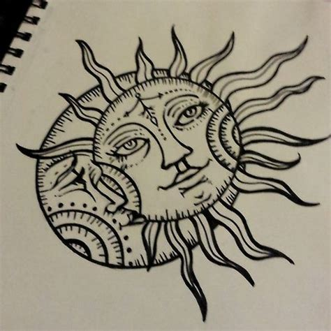 sun and moon tattoo design sun drawing moon design ink design