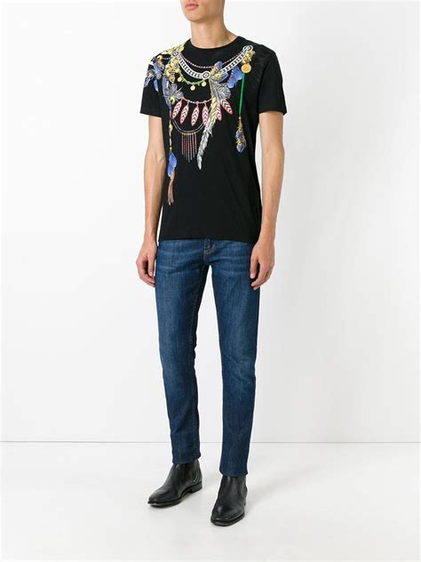 Wing Printed T Shirt lyst roberto cavalli wing printed t shirt in black for