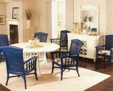 blue painted wicker dining chairs indoor with white
