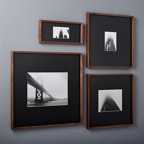 walnut 8x10 box picture frame cb2 gallery walnut picture frames with black mats cb2